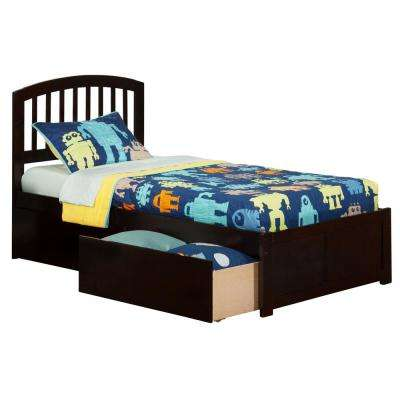 Richmond Espresso Twin XL Platform Bed with Flat Panel Foot Board and 2-Urban Bed Drawers