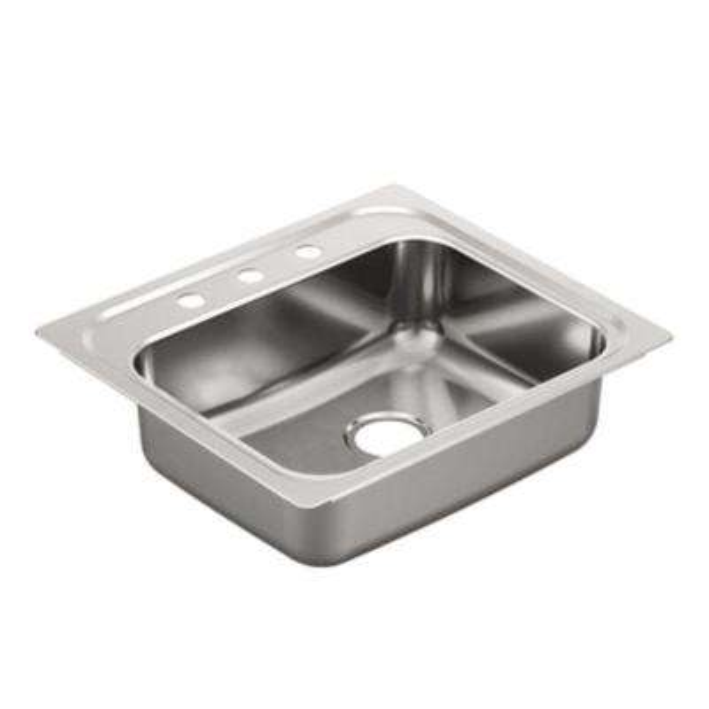 2000 Series Drop-in Stainless Steel 25 in. 3-Hole Single Basin Kitchen Sink