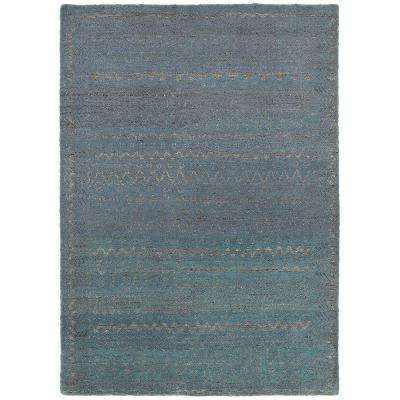 Oushak Hand Knotted Coastal Distress Blue 9 ft. x 12 ft. Indoor Area Rug