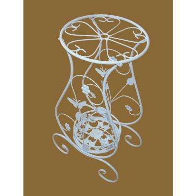 Butterfly 31.5 in. x 36 in. Metal White Plant Stand