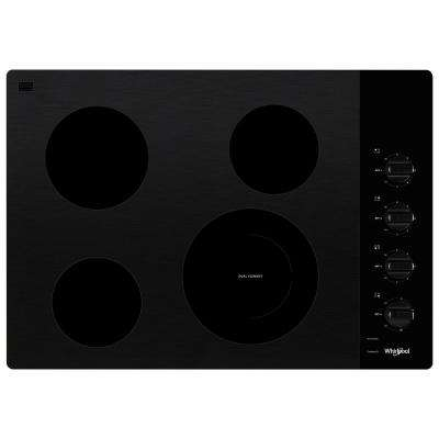 30 in. Radiant Electric Ceramic Glass Cooktop in Black with 4 Elements including a Dual Radiant Element