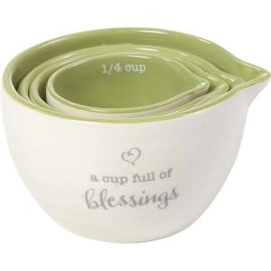 A Cup Full Of Blessings White And Green Ceramic Measuring Cup (Set of 4)