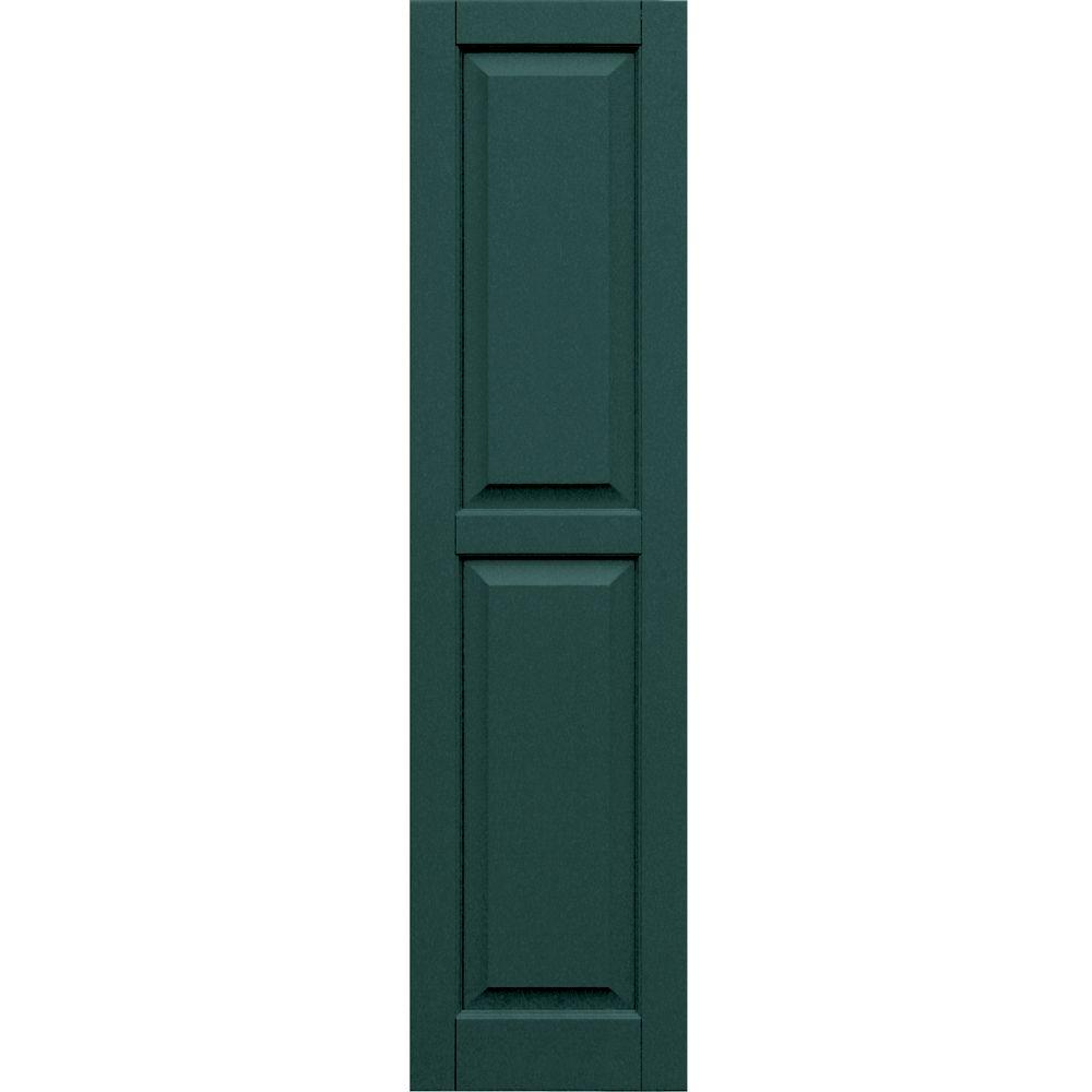 Winworks Wood Composite 15 in. x 59 in. Raised Panel Shutters Pair #633 Forest Green