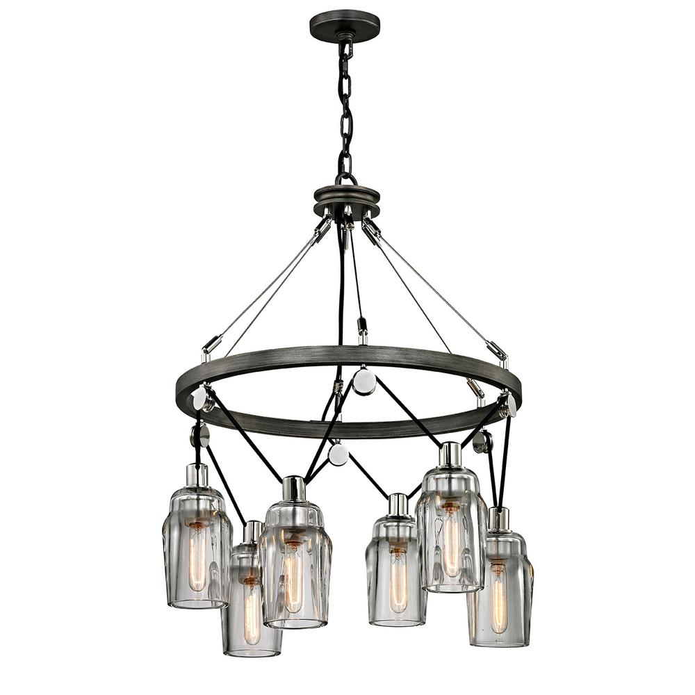 Troy Lighting Citizen 6-Light Graphite and Polished Nickel Pendant with Clear Pressed Glass Shade