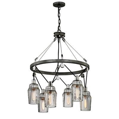 Citizen 6-Light Graphite and Polished Nickel Pendant with Clear Pressed Glass Shade