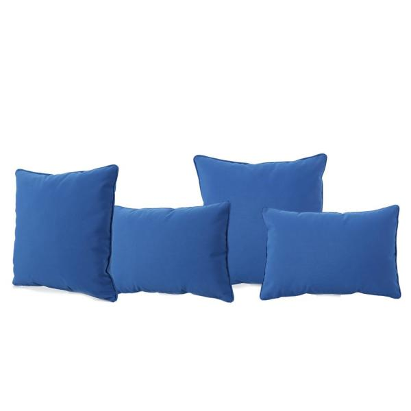 Coronado Blue Lumbar and Square Outdoor Throw Pillows (4-Pack)