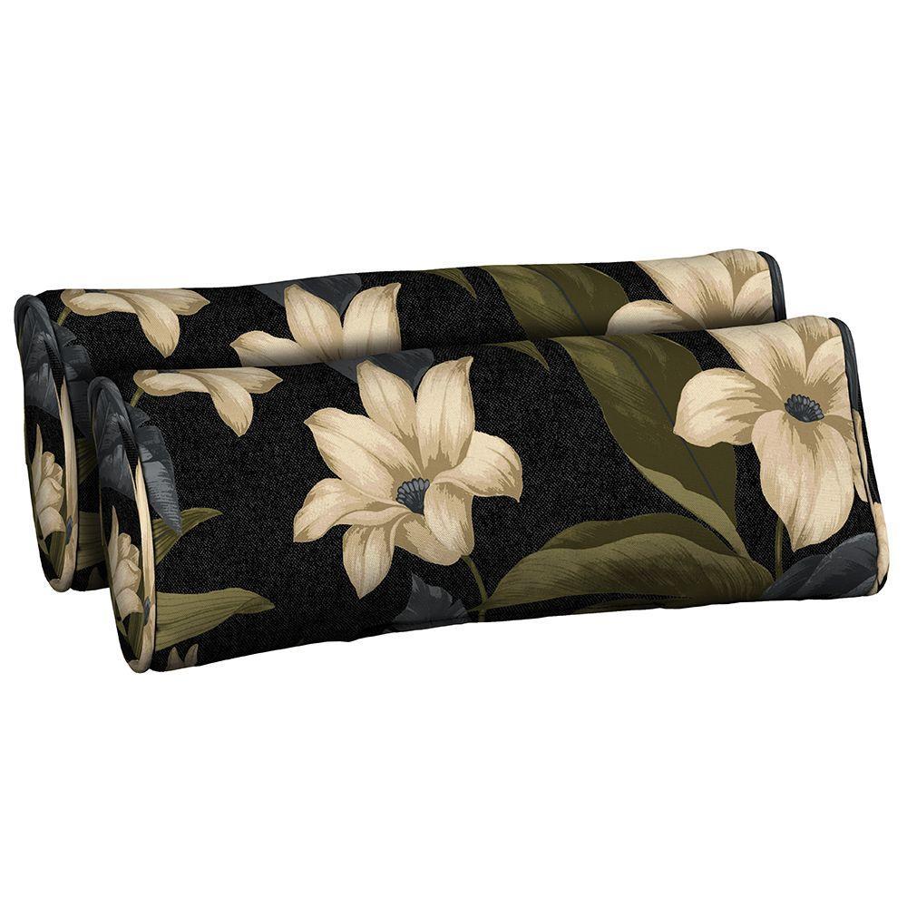 Black Tropical Blossom Outdoor Bolster Pillow (2-Pack)