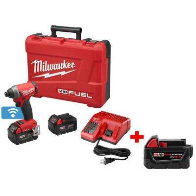 M18 FUEL 18-Volt Cordless Lithium-Ion with ONE-KEY 1/4 in. Brushless Impact Driver Kit with Free M18 5Ah XC Battery