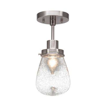 5 in. 1-Light Brushed Nickel Semi-Flush Mount with Clear Bubble Glass