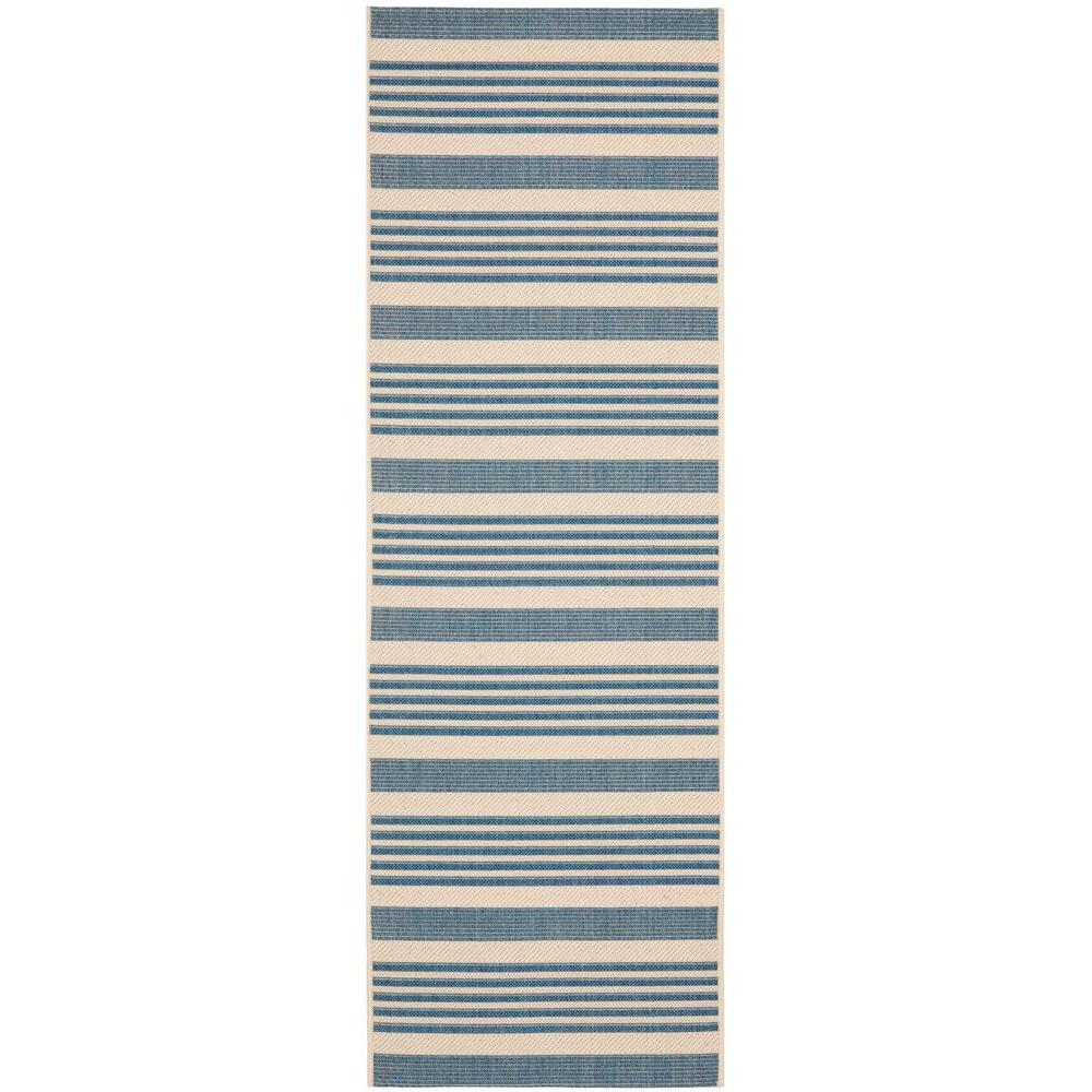 Courtyard Beige/Blue 2 ft. 3 in. x 10 ft. Indoor/Outdoor Runner