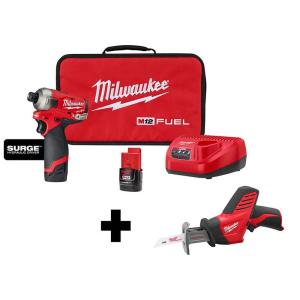 Deals on Milwaukee M12 FUEL SURGE 12V 1/4 in. Hex Impact Driver Kit w/Hackzall