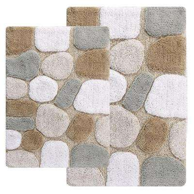21 in. x 34 in. and 24 in. x 40 in. 2-Piece Pebbles Bath Rug Set in Spa