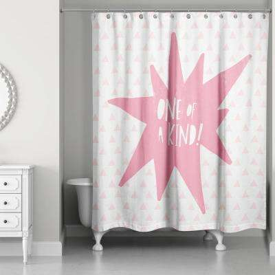 Cool Kid 74 in. 1 of a Kind Pink Shower Curtain