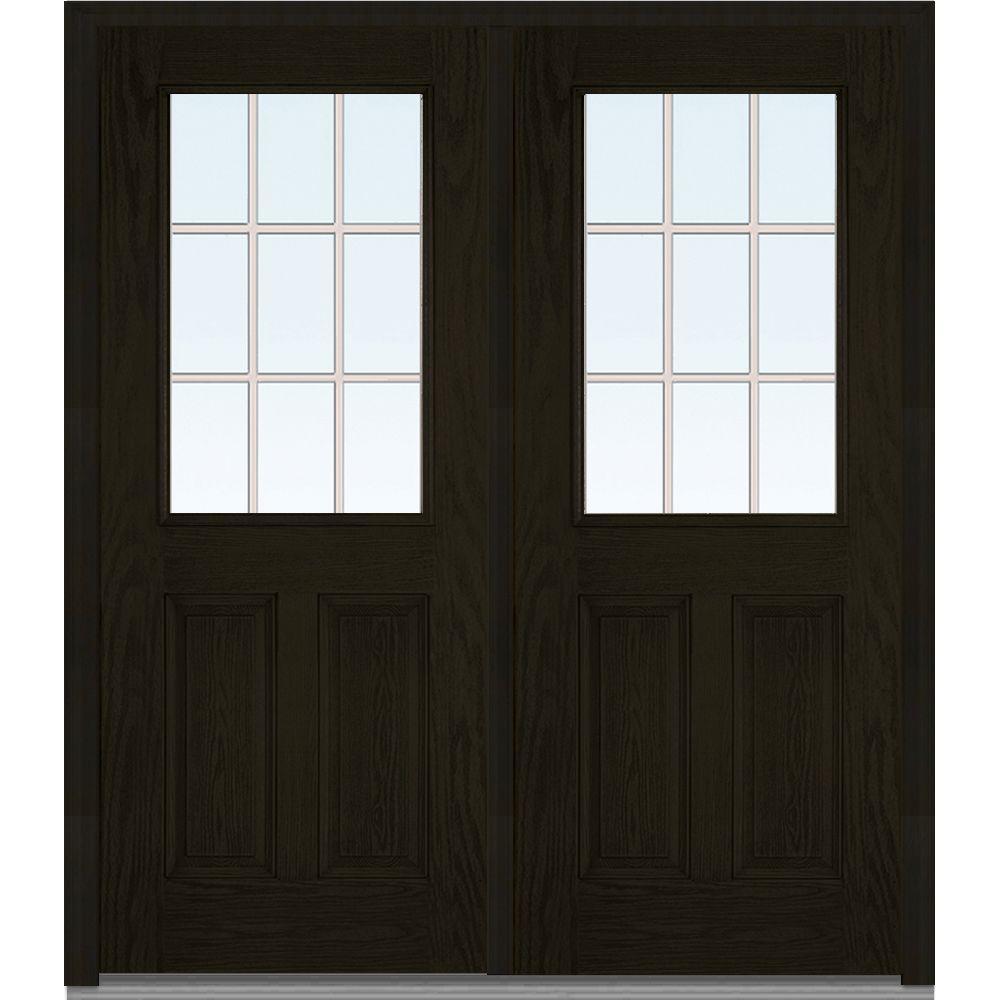 MMI Door 72 in. x 80 in. Tan Internal Grilles Left-Hand Inswing 1/2-Lite Clear 2-Panel Stained Fiberglass Oak Prehung Front Door