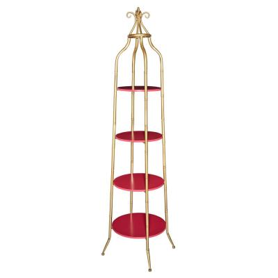 72 in. Gold/Red Metal 4-shelf Accent Bookcase with Open Back