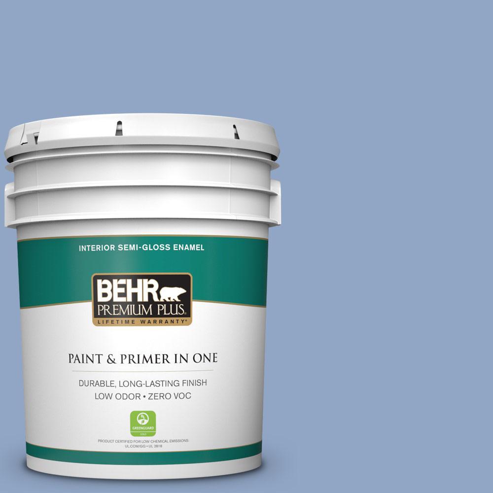 5 gal. #PPU15-13 Blue Hydrangea Zero VOC Semi-Gloss Enamel Interior Paint