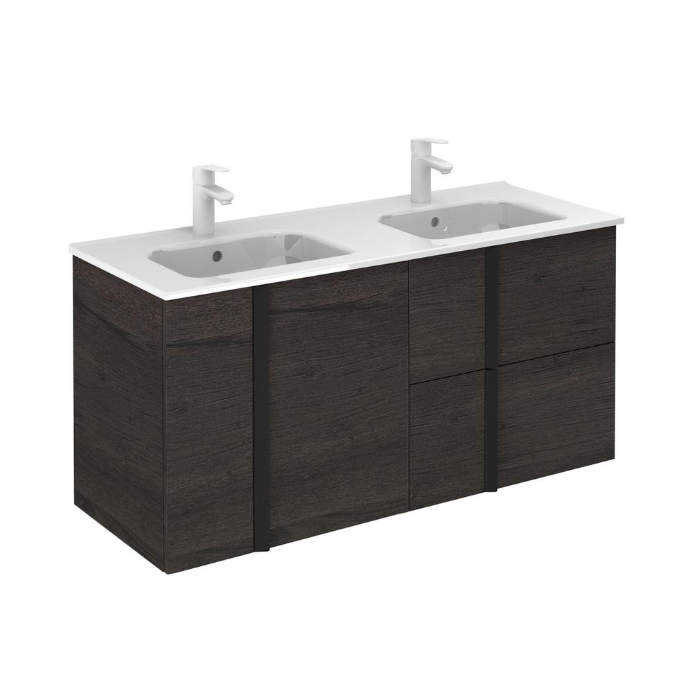 ROYO Onix 48 in. W x 18 in. D Vanity with Doors and Drawers in Essence Wenge with Vanity Top in White Ceramic Basin