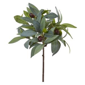 Indoor 12 Olive Branch Artificial Plant with Berries (Set of 12)