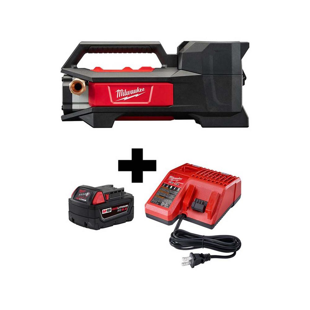 Milwaukee M18 18-V 1/4 HP Lithium-Ion Cordless Transfer Pump w/ M18 Starter Kit w/ One 5.0 Ah Battery and Charger