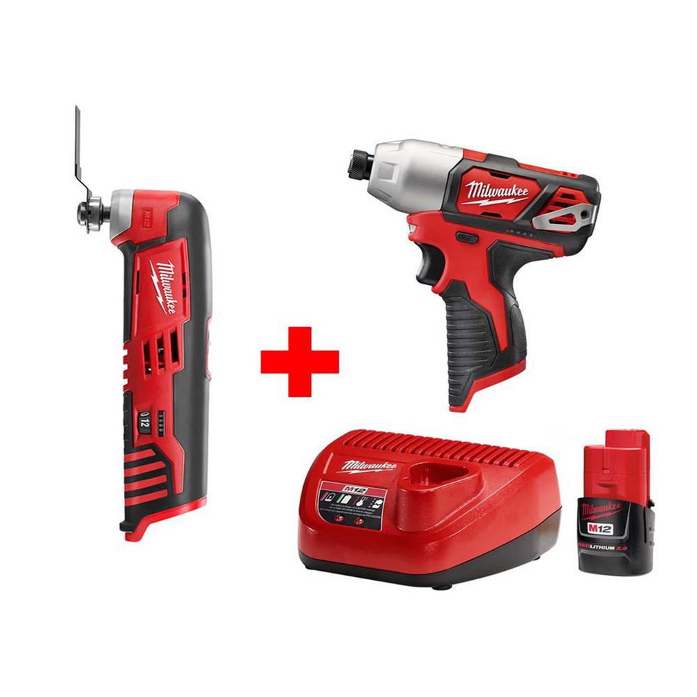 M12 12-Volt Lithium-Ion Cordless 1/4 in. Hex Impact and Multi-Tool Combo