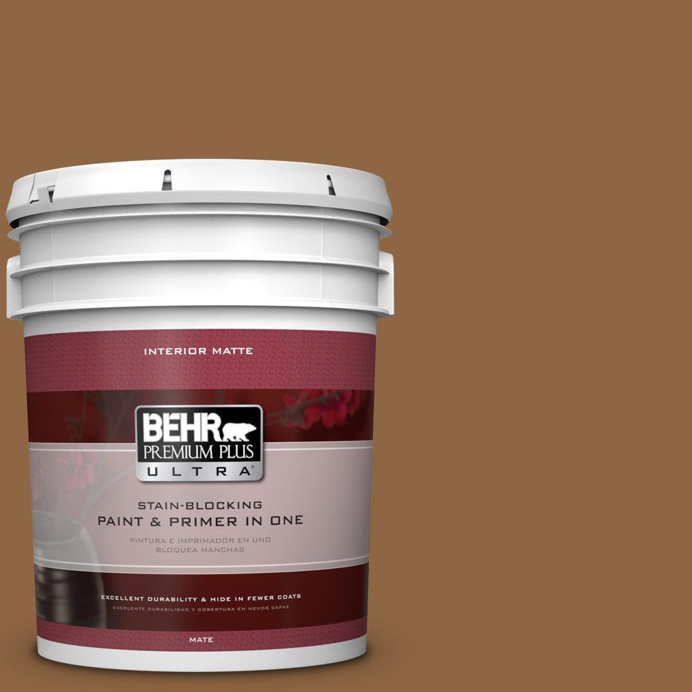 BEHR Premium Plus Ultra 5 gal. #270F-7 English Saddle Flat/Matte Interior Paint