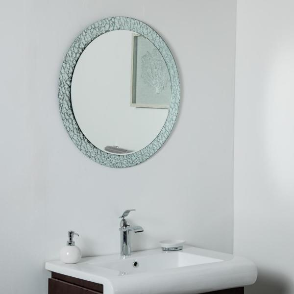 28 in. W x 28 in. H Frameless Round Bathroom Vanity Mirror in Silver
