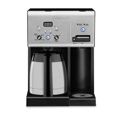 10-Cup Black Stainless Steel Coffee Maker with Hot Water System