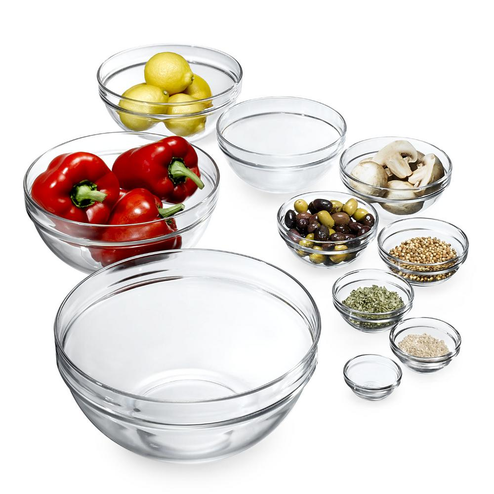 Stackable Assorted Clear Glass Bowls (Set of 10)