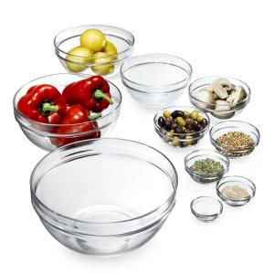 Deals on Set of 10 Luminarc Stackable Assorted Clear Glass Bowls