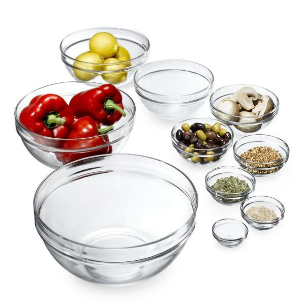 Luminarc Stackable Assorted Clear Glass Bowls (Set of 10) N6938