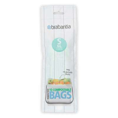 1.6 Gal. (6L) Compostable Perfectfit Trash Can Liners Code S 120 Liners (12-Packs of 10 Liners)