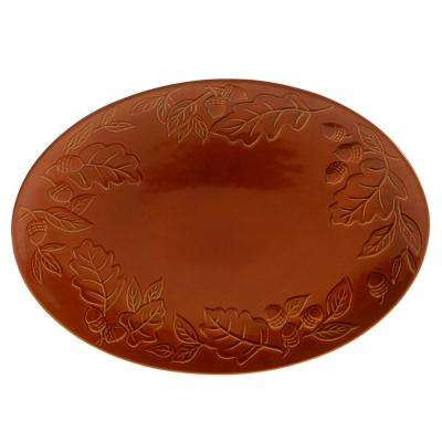 Autumn Fields by Susan Winget Acorn Pumpkin 16 in. Oval Platter