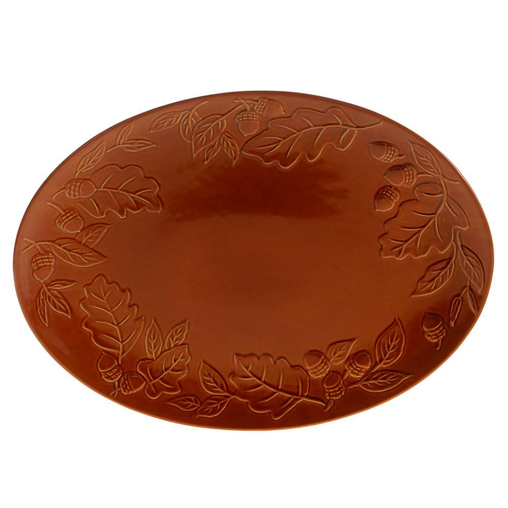 Certified International Autumn Fields by Susan Winget Acorn Pumpkin 16 in. Oval Platter