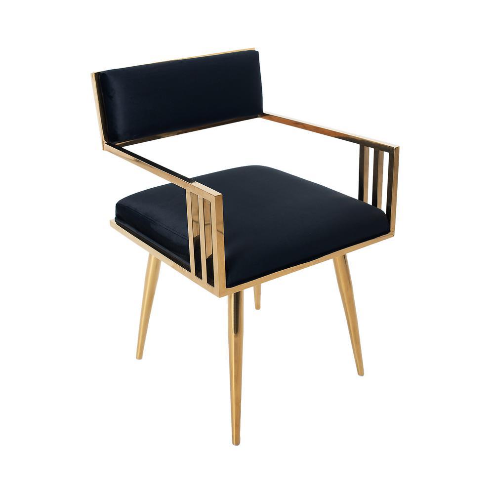 Black Living Room Metallic Stainless Steel Velvet Armchair