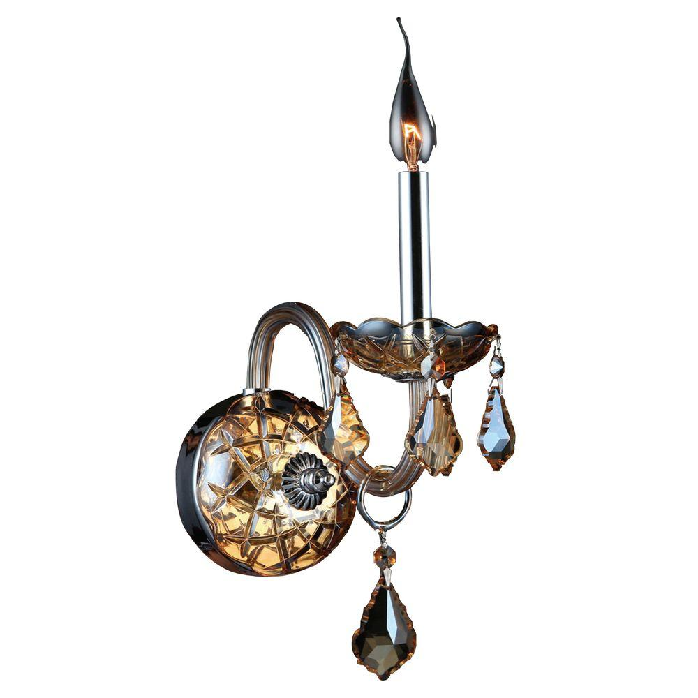 Worldwide Lighting Provence Collection 1-Light Amber Crystal and Chrome Sconce