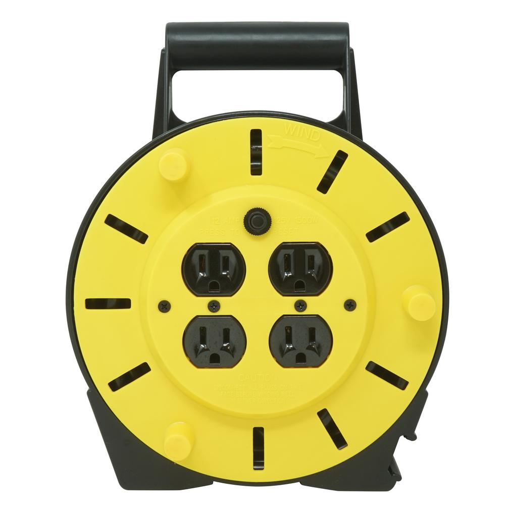 Woods 25 ft. 16/3 Multi-Outlet (4) Portable Extension Cord Reel Power Station