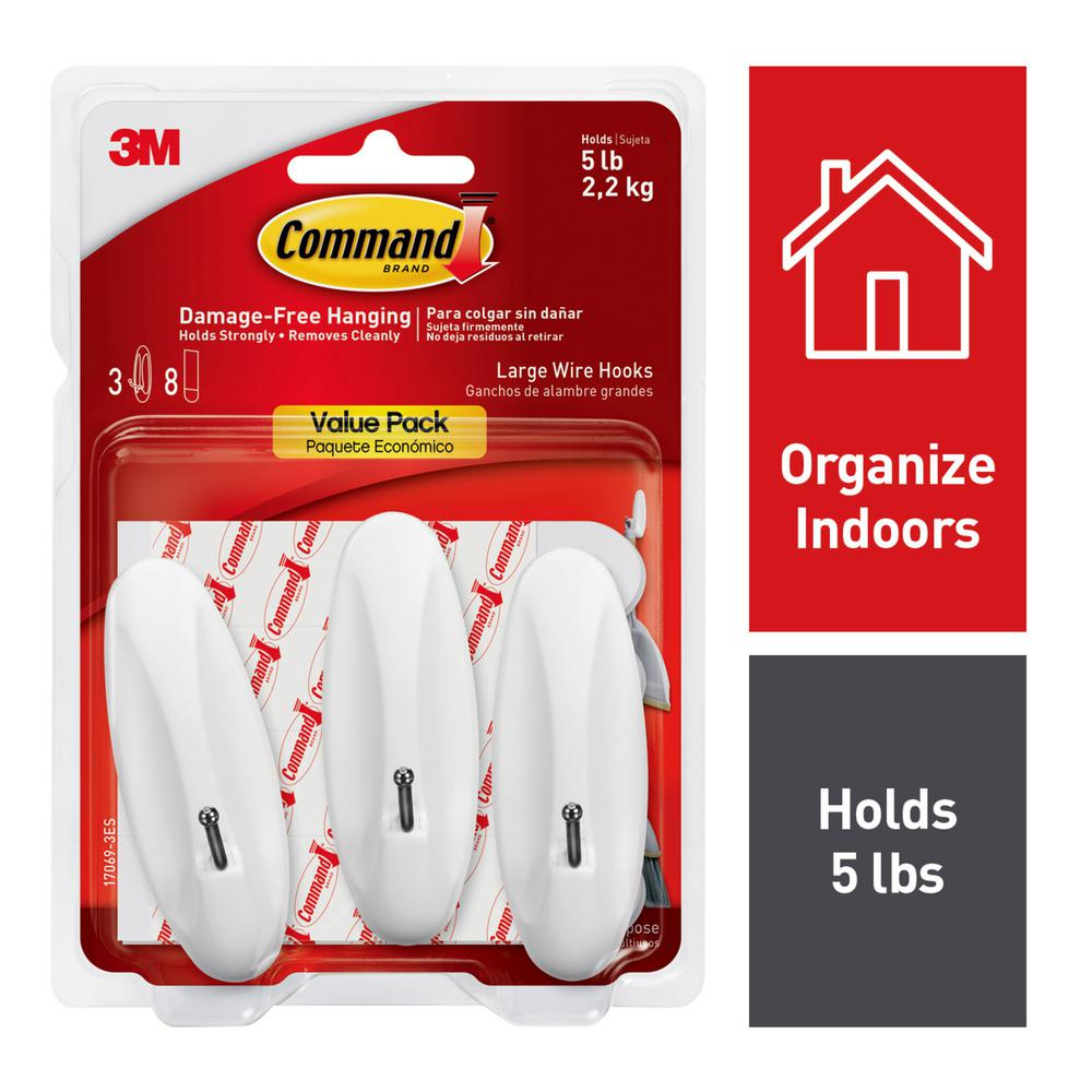 Command 5 lbs. 8-Adhesive Strips Large White Wire Hook (3-Hooks)