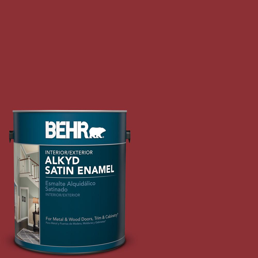 1 gal. #BXC-27 Carriage Red Satin Enamel Alkyd Interior/Exterior Paint