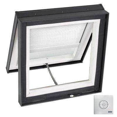 22-1/2 in. x 22-1/2 in. Solar Powered Venting Curb-Mount Skylight w/ Laminated Low-E3 Glass White Light Filtering Blind