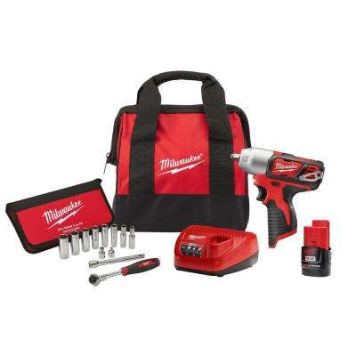 M12 12-Volt Lithium-Ion 3/8 in. Cordless Impact Wrench Kit With 3/8 in. Drive Metric Socket Set (12-Piece)