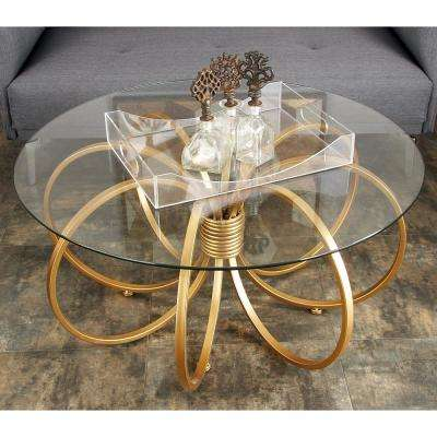 Clear Glass Round Coffee Table With Copper Gold Metallic Hoop Rings Iron  Base