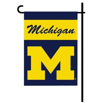 NCAA 13 in. x 18 in. Michigan 2-Sided Garden Flag Set with 4 ft. Metal Flag Stand