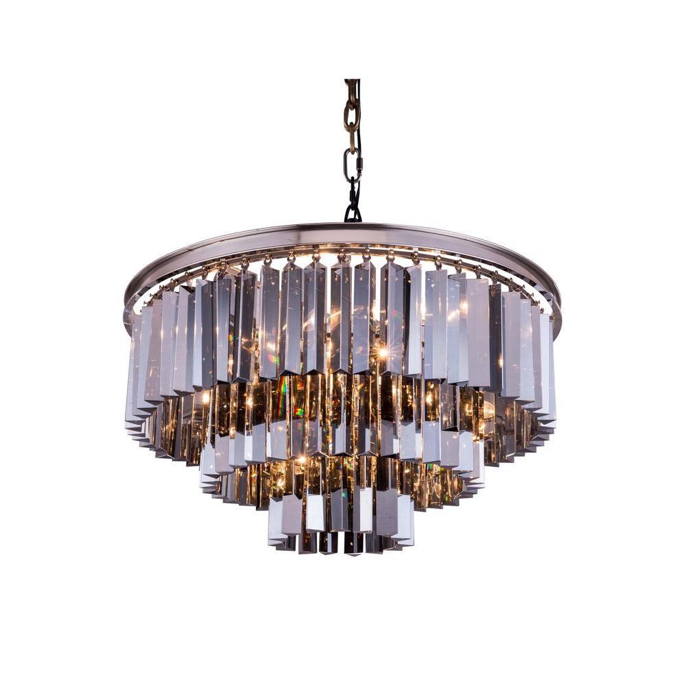 Elegant Lighting Sydney 9-Light Polished Nickel Chandelier with Silver Shade Grey Crystal
