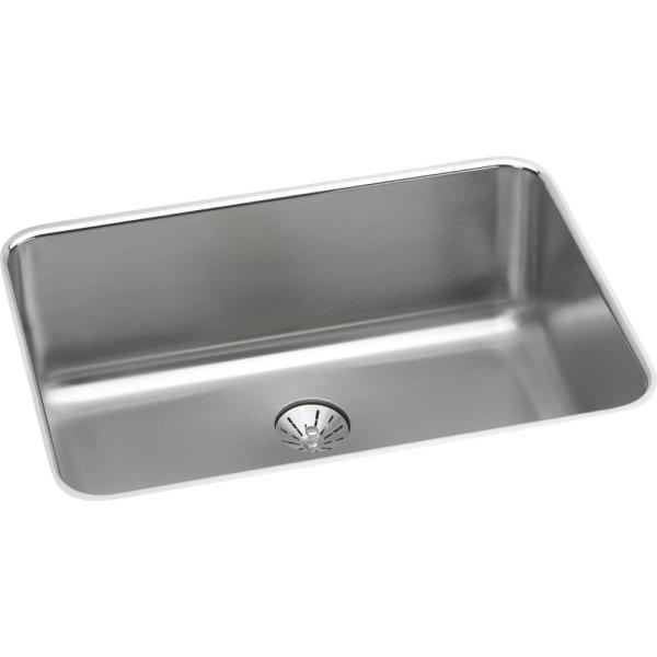 Lustertone Classic Undermount Stainless Steel 26.5 in. Single Bowl Kitchen Sink with Perfect Drain
