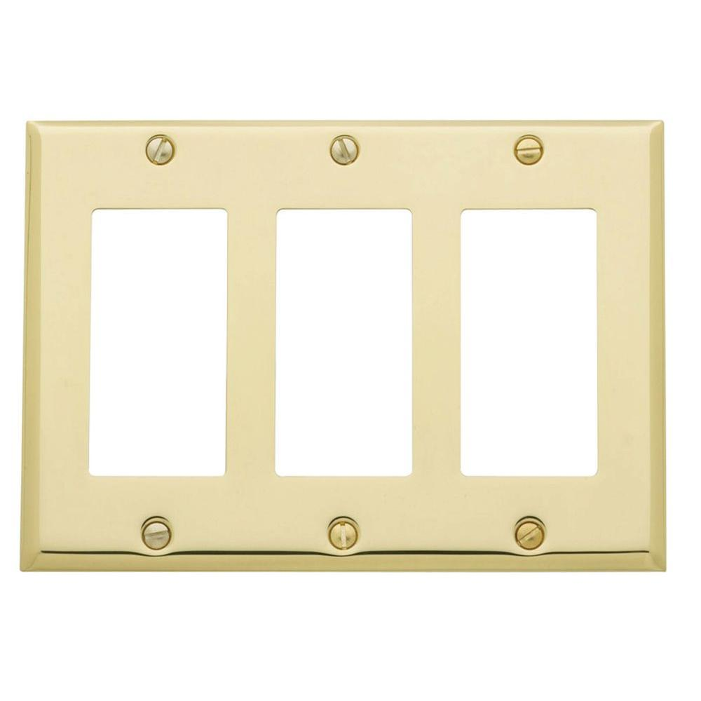 Beveled Edge 3 GFCI Wall Plate - Polished Brass