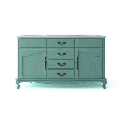Provence 62 in. W x 22 in. D Vanity in Blue with Marble Vanity Top in White with White Sink