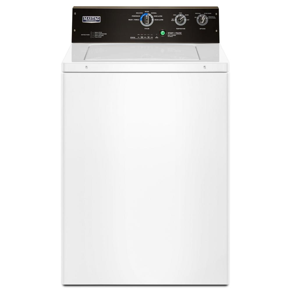 3.5 cu. ft. White Commercial-Grade Residential Agitator Top Load Washer