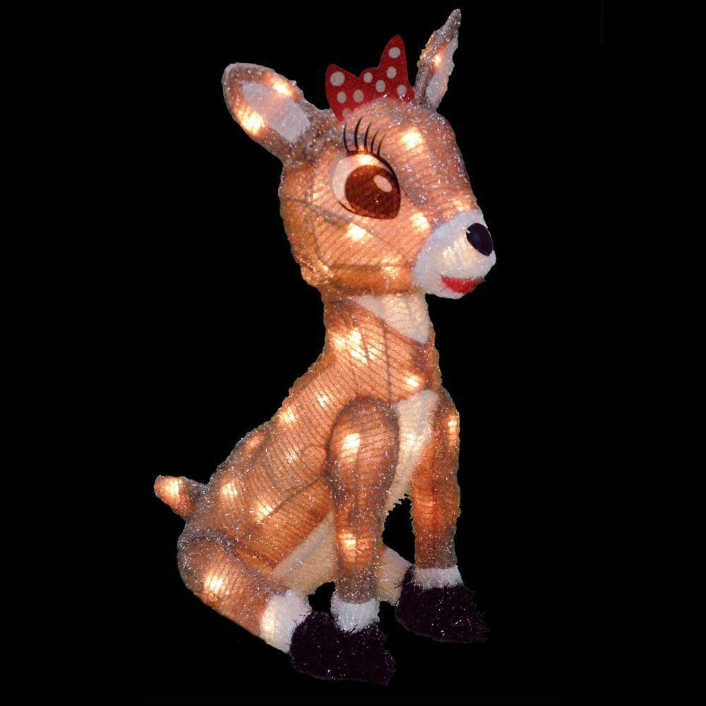 rudolph 18 in rudolph pre lit led 3d sitting clarice - Rudolph Christmas Decorations