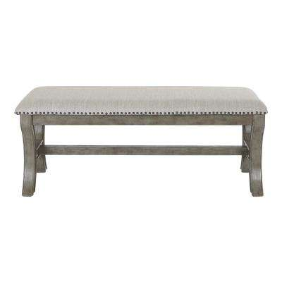 48 in. Antique Grey Base in Grey Fabric K/D Bench