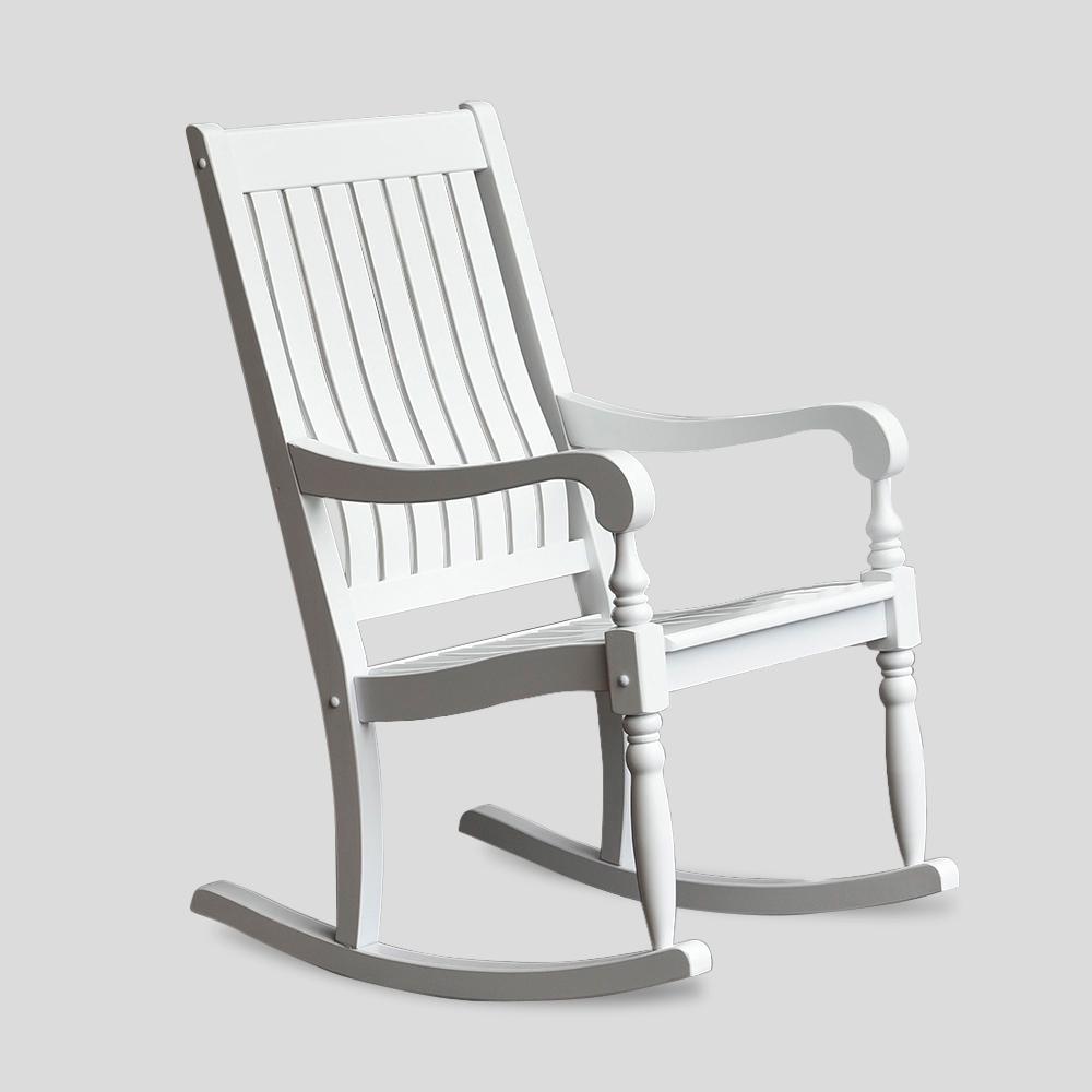 Bonn Oversized White Wood Outdoor Rocking Chair